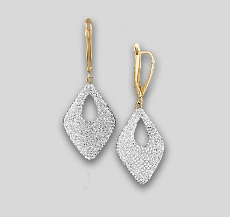 155e3f050dd3 Золото серьги ромб кристаллы Сваровски Swarovski ЮК Феникс Фs-2039-А ...