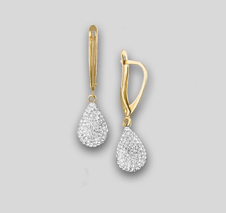 d35a189f1169 Золотые серьги капельки с кристаллами Сваровски ЮК Феникс Фs-2040-А ...